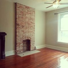 Image result for exposing brick fireplace