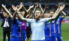 """Iceland players and fans celebrate monumental win over England with amazing viking chant."" – Aron Gunnarsson (front) and his teammates celebrate after beating England in the Euro 2016, eliminating England from the tournament, and thus qualifying for the (fucking) quarter finals!!!!!! <3"