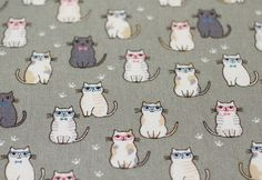 Animal Print Fabric By The Yard - Classy Cats Fabric on Gray - Cotton Fabric - Half Yard Cat Fabric, Bag Patterns, Sewing A Button, Cotton Fabric, Snoopy, Yard, Classy, Lunch, Handmade