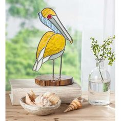 Wind & Weather Stained Glass Pelican on Teak Wood Base Figurine - Glass Art Stained Glass Table Lamps, Stained Glass Light, Stained Glass Designs, Stained Glass Projects, Stained Glass Patterns, Glass Animals, Glass Wall Art, Glass Material, Glass Birds