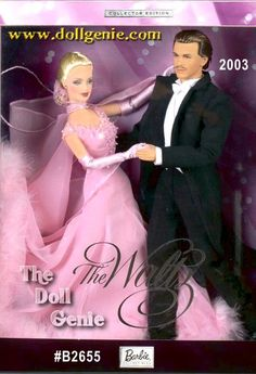 The Waltz Barbie and Ken Giftset captures the grace and splendor of this beloved ballroom dance. Barbie doll wears an exquisite pink chiffon and charmeuse dress, lavishly embellished in marabou. Barbie dolls gown is accented with a beaded necklace and pink crystal-like earring studs. Ken doll is as handsome as ever, dressed in a classic tuxedo with tails. Together, they are unforgettable as they trip the light fantastic.