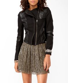 Forever 21 Denim & Faux Leather Moto Jacket. Military AND vinyl and leather.