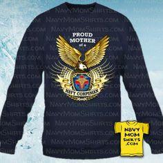 Proud Navy Corpsman Mom Sweatshirts with Big Eagle designed by NavyMomShirts.com