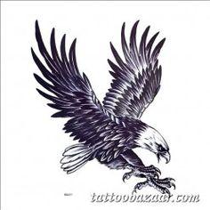 Eagle Pattern Tattoo Paper Sticker for Men - Blue Black