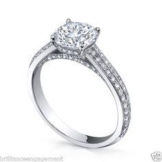 ROUND CUSTOM DESIGN MICRO PAVE DIAMOND PROPOSAL RING EGL USA 1.30 CT