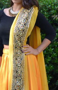black and yellow Lengha #sikhwedding #indianfashio