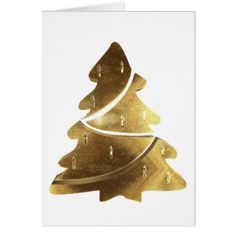 Merry Christmas Tree Gold Look Elegant Card - christmas cards merry xmas family party holidays cyo diy greeting card