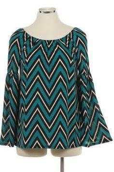 Women's Teal Chevron Bell Sleeve Tunic: Katybrooke Boutique