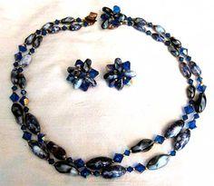 Vtg Necklace w Earrings Bermuda Blue by LilBlackDressVintage, $40.00
