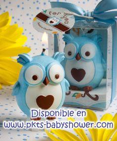 Recuerdos para Baby Shower - Vela Buho Azul - Disponible en www.pkts-babyshower.com