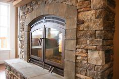 Indoor outdoor see through fireplace