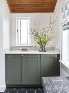Gray Green Cabinets Under Plank Sloped Ceiling - Transitional - Bathroom Trends 2018, Green Cabinets, Grey Bathrooms, Bathroom Green, Bathroom Vanities, Grey Bathroom Cabinets, Remodel Bathroom, Bathroom Ideas, Bedroom Seating