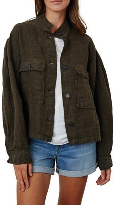 'Braelyn' Khaki Boiler Jacket   Jessimara London Spring Jackets, Long Jackets, Graham Spencer, Boiler, Color Khaki, Black Shorts, Blue Denim, Military Jacket, Raincoat