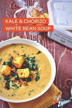 This Kale and Chorizo White Bean Soup recipe is just as delicious as it looks! Love these fall flavors for soup swaps, and the baked cornbread croutons are a must-try. For easy gifting, store in a Ziploc® Holiday container, then wrap with ribbon (so it looks as fabulous as the soup, obviously).