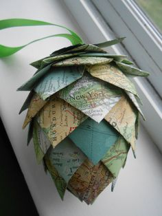 Vintage Map Paper Pinecone Ornament. Decoration, Christmas, Gift, Birthday, Anniversary, Wedding. by TreeTownPaper on Etsy