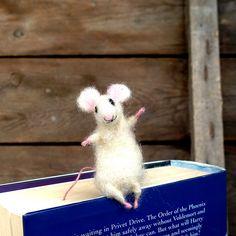 Felt miniature mouse bookmark White woolen mouse by CozyMilArt $24.00