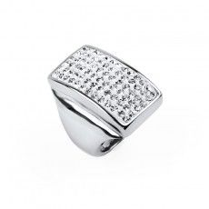 Stainless Steel Ring with Crystals - Size 7