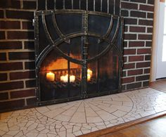 Hand-forged Fire Screen and Mosaic Hearth
