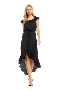 Hi-Lo Black Satin Midi Dress 100% Polyester Off The Shoulder Neckline Button-Front Elastic Waist Ruffle Hem In Stock Satin Midi Dress, Black Satin, Large Black, Off The Shoulder, Elastic Waist, Neckline, Button, Dresses, Products