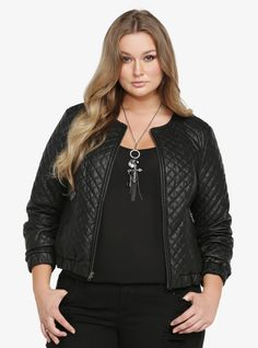 Quilted Faux Leather Bomber Jacket From the Plus Size Fashion Community at www.VintageandCurvy.com