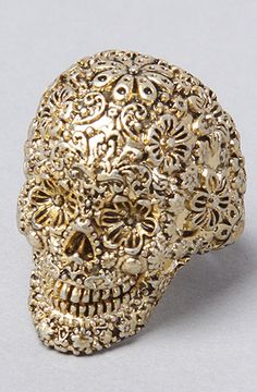The Pirates Glamour Skull Ring in Gold Women's Jewelry By Disney Couture Jewelry