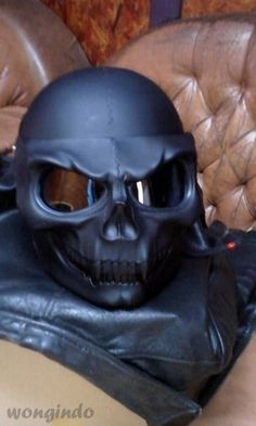 Skeleton Black Skull Motorcycle Helmet Full Face 3D Airbrush Rare | wongindo - Home & Garden on ArtFire