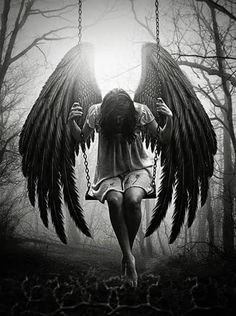 Explore the angels and demons collection - the favourite images chosen by PlacidAnemia on DeviantArt. Dark Fantasy Art, Dark Art, Sad Angel, Angel And Devil, Dark Angel Tattoo, Fallen Angel Tattoo Sleeve, Angels Tattoo, Angel Falls, Fu Dog