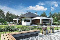 Projekt domu Morgan III 107,05 m2 - koszt budowy - EXTRADOM Beautiful House Plans, Beautiful Homes, 100 M2, Atrium, House Floor Plans, Gazebo, Outdoor Structures, Flooring, House Styles