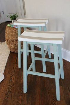 DIY Painted Furniture Makeover. Saddle Seat Bar Stools Get a Fresh Look. Perfect for Coastal, Lake and Beach Chic Home Decorating Styles! Refresh Restyle #coastaldecorating