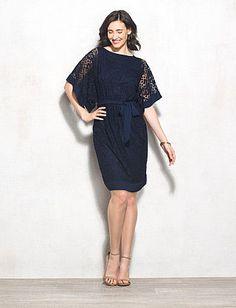 Belted Lace Dolman Sleeve Dress