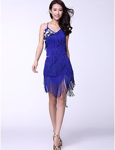 Dancewear Chinlon And Tassels With Coins Latin Dance Outfits for Ladies(More Colors) - USD $ 29.99