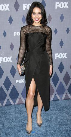 Vanessa Hudgens in a black long-sleeve Lorena Sarbu dress