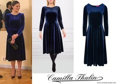 Crown Princess Victoria wore a CAMILLA THULIN cherry dress when she and Prince Daniel visited Lithuania/ Febr. Princess Victoria Of Sweden, Crown Princess Victoria, Royal Fashion, Fashion Looks, Swedish Royalty, Blue Velvet Dress, Prince Daniel, Cherry Dress, Royals