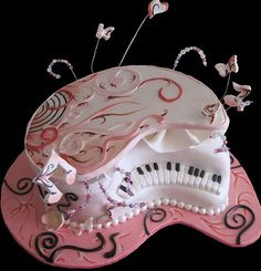 the food of love, Cake on! A piano cake complete with seat from Simply Cakes Melbourne : Here's a solution for that musical person w. Music Themed Cakes, Music Cakes, Pretty Cakes, Beautiful Cakes, Amazing Cakes, Unique Cakes, Creative Cakes, Cupcakes, Cupcake Cakes