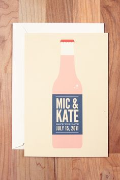 soda bottle save the date by Ello There