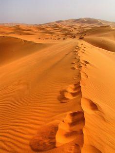 Some footprints in the Sand Dune in the Erg Chebbi in the Sahara Desert in Morocco. Desert Life, Desert Oasis, Desert Dream, Taklamakan Desert, Deserts Of The World, Jolie Photo, North Africa, Casablanca, Historical Sites