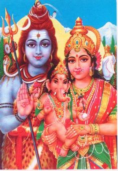 Shiva, Baby Ganesh, Parvati