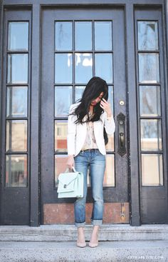 "Casual Sunday: Pastels and distressed denim (NOTE: nude/peach blouse and heels, cross-body bag, slim-fit boyfriend jeans -- Gap ""real straight"" jeans)"