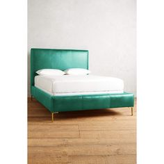 Anthropologie Premium Leather Edlyn Bed (4,180 CAD) ❤ liked on Polyvore featuring home, furniture, beds, blue green, colored furniture, anthropologie, aqua colored furniture, anthropologie bed and leather furniture