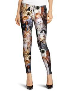 Womens 3 D Cats Printed Leggings