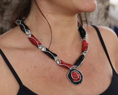 Nespresso coffee capsules jewelry, Recycled materials, Upcycled, Eco friendly necklace.