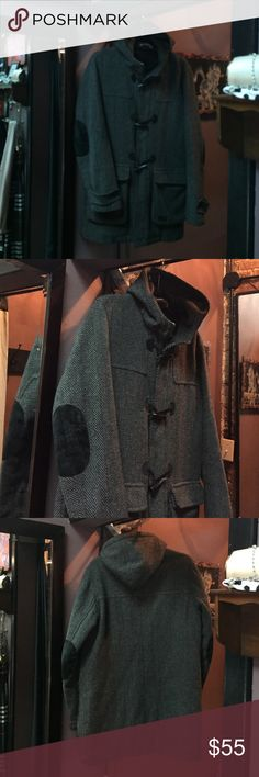 Men's WESC Eddie duffle toggle coat Men's WESC Eddie duffle toggle coat. Tweed with suede elbow patches and hood. Super warm! Excellent condtition Wesc Jackets & Coats Pea Coats