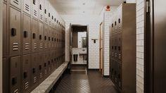 ATEPAA steel gym lockers in industrial style. Lockers made from blackened steel.