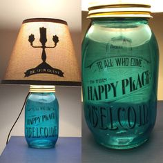 Beautifully hand crafted mason jar lamp inspired by Disney. This listing includes the base, lighting fixture, and shade (silhouette is only