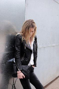 Leather jacket    streetstyle    make it happen