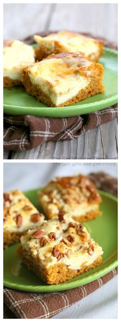 This is very east-and very moist! Pumpkin Cream Cheese Bars - with or without nuts. {The Girl Who Ate Everything} Pumpkin Recipes, Fall Recipes, Holiday Recipes, Delicious Desserts, Dessert Recipes, Yummy Food, Dessert Bars, Pumpkin Cream Cheese Bars, Pumpkin Cheesecake Bars