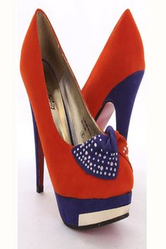 These stylish heels are a must have! Featuring velvet upper with two tone design, twisted bow accent with faceted beaded detailing, almond shaped closed toe, stitched detailing, mirrored platform trim, smooth faux leather lining, and cushioned footbed. Approximately 5 inch heels and 1 1/2 inch platforms.