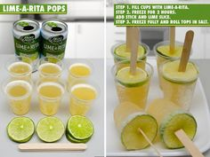 These would be great using homemade Margaritas.  Alternately, could use a variety of fruit juices with a slice of the same fruit at top end.
