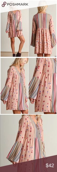❗️CLOSING SALE❗️Blush Bell Sleeve Printed Dress Umgee Blush Bell Sleeve Printed Boho Dress. Cotton poly blend. Fits true to size Umgee Dresses