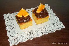 Quadrados de Laranja com Cobertura de Brigadeiro de Chocolate e Laranja